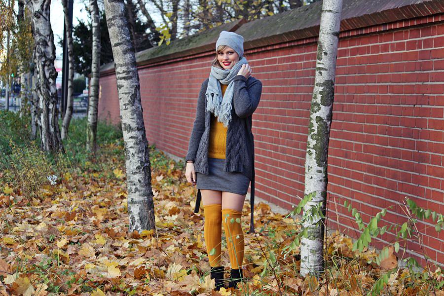 Outfit mit Overknees Strümpfen: Dressed in Autumncolours