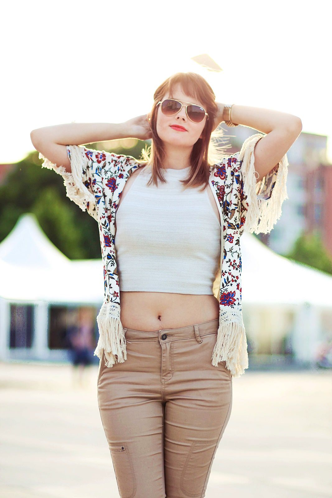 Kimono Fashion Look mit Blumenmuster