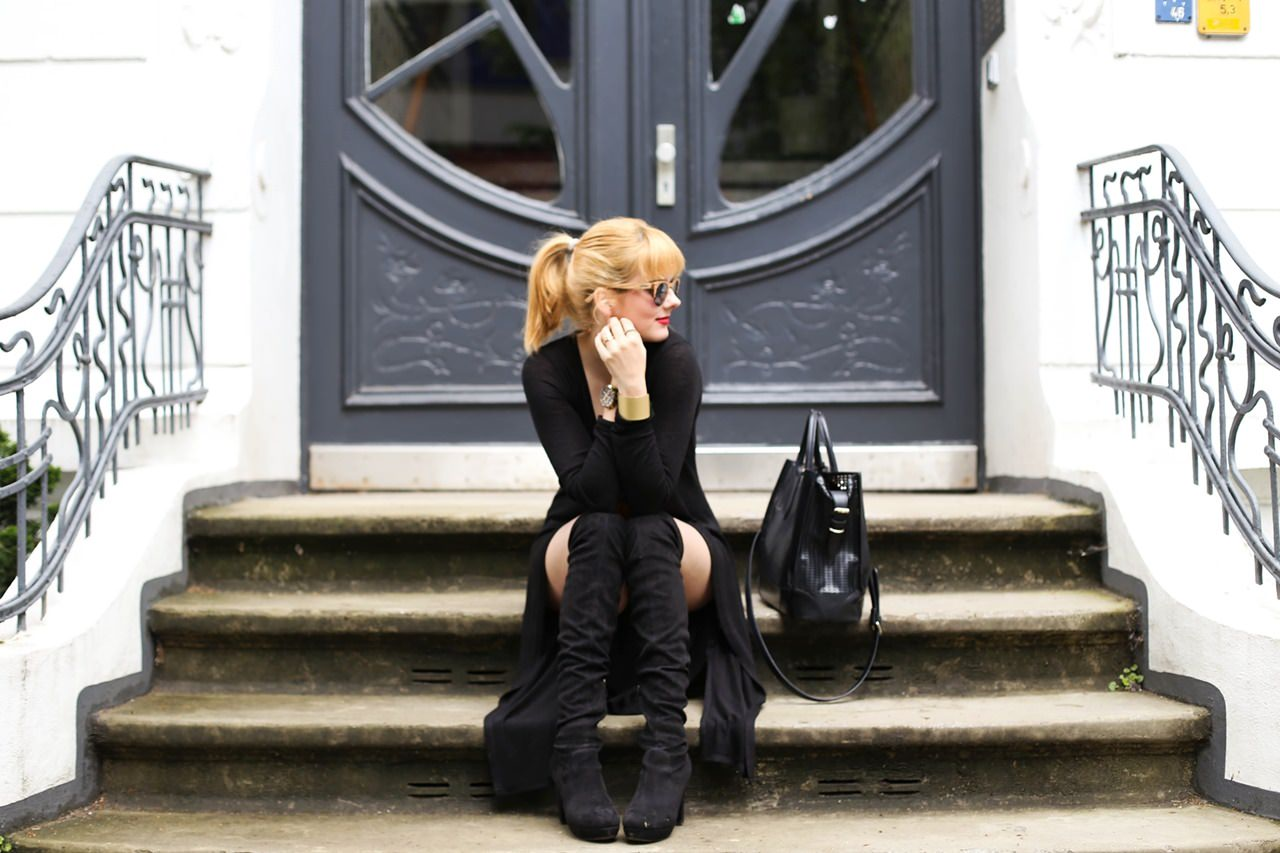 herbst outfit mit overknee boots von tamaris. Black Bedroom Furniture Sets. Home Design Ideas