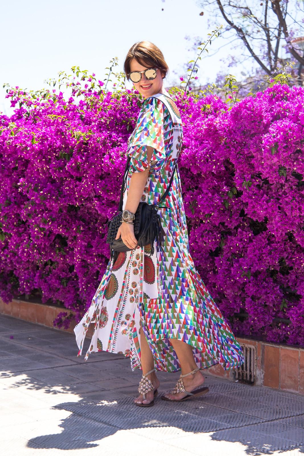 Outfit in Barcelona: Desigual Maxikleid & Le Specs Sonnenbrille