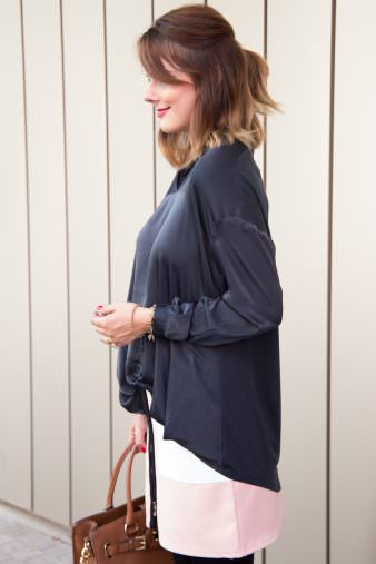 1. Herbst Outfit 2016: Silk Bluse & Michael Kors Hamilton Tasche