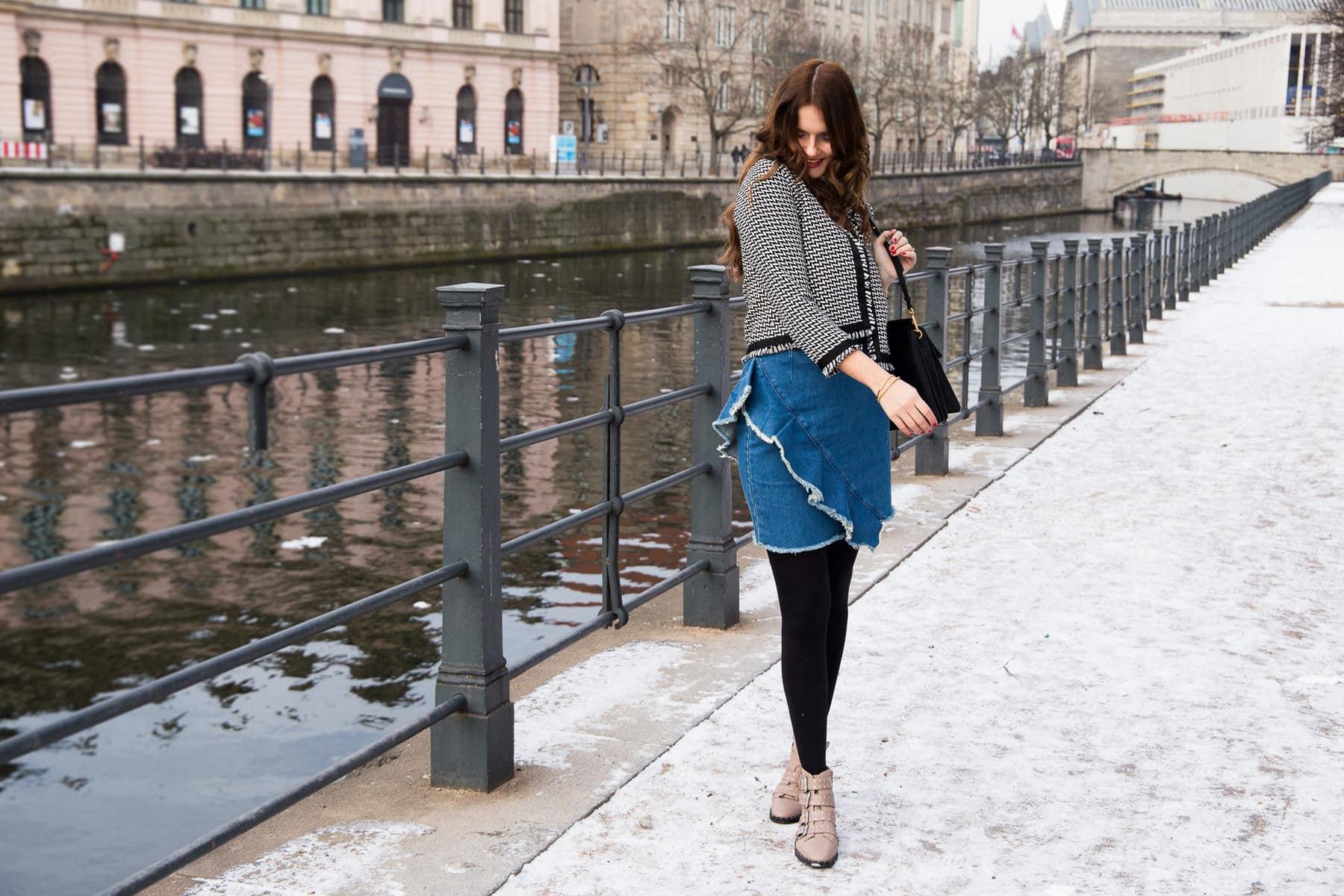 2019 heißer verkauf süß billig bis zu 60% sparen Hallhuber Tweed Jacke, Volant Jeansrock & Topshop AMY Boots