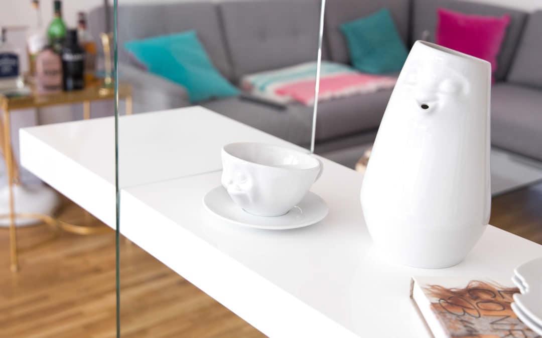 Wohnideen im skandinavischen Design: Glas Wohnzimmerregal