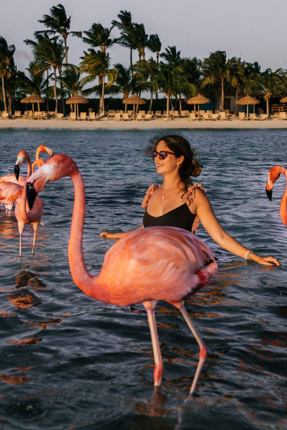 Julia mit Flamingos auf Aruba