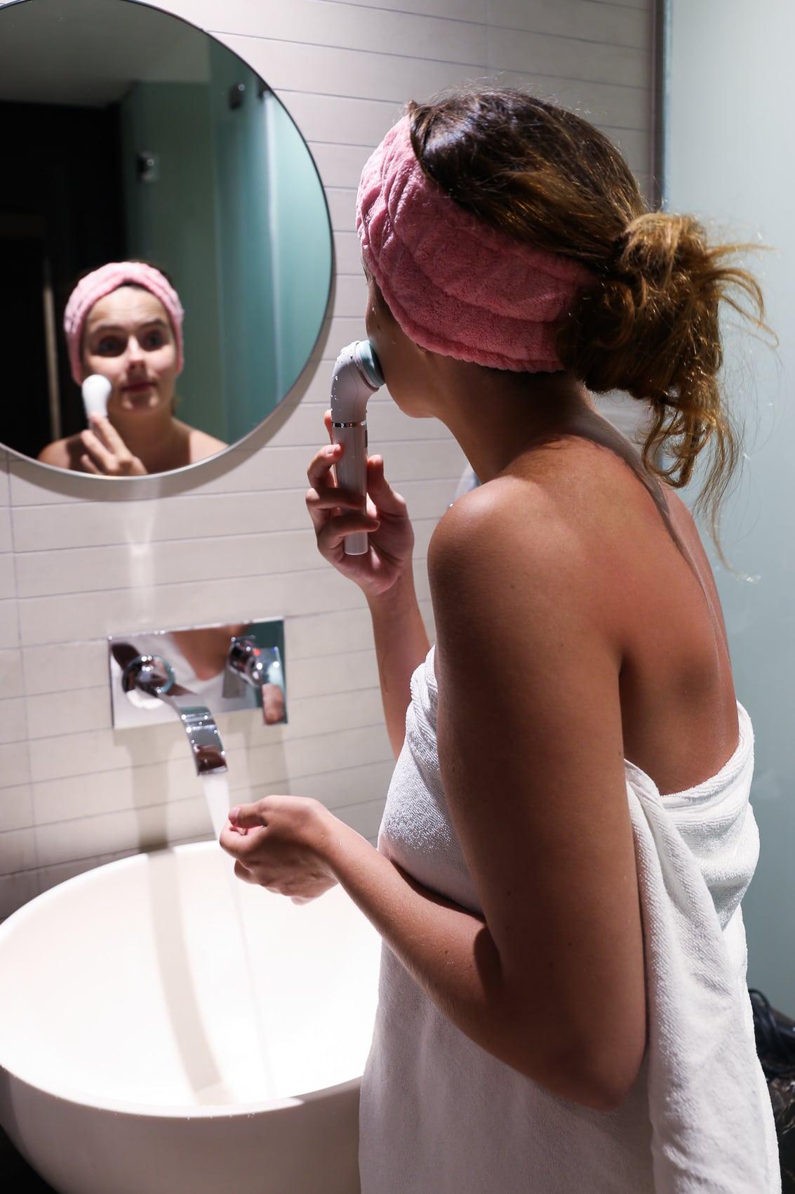 Meine aktuelle Beauty Routine auf Reisen mit dem Braun Face Spa mit Tiefenmassage-Pad