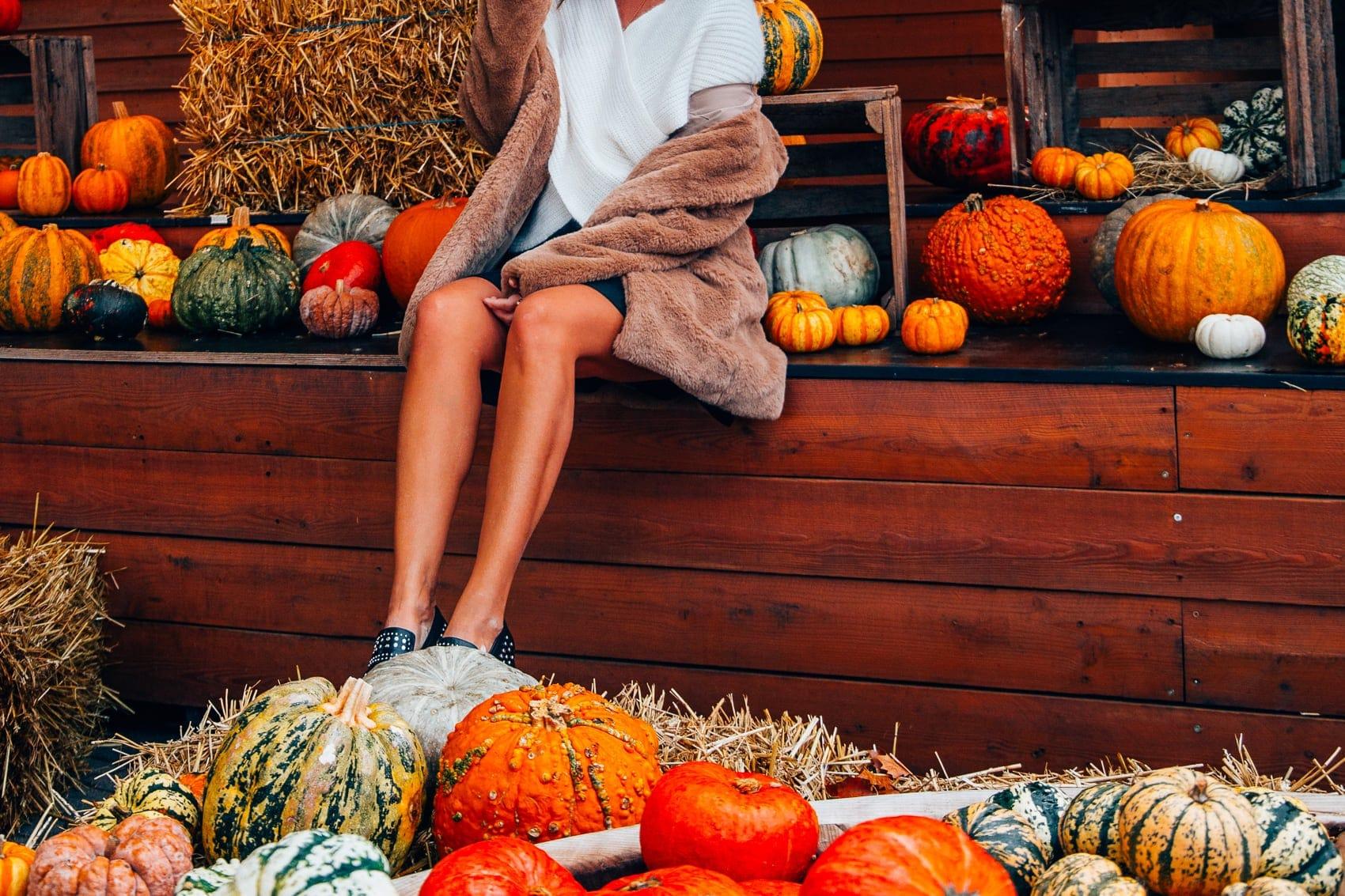 Herbst Trends 2018: Bakerboy Mütze, Teddy Mantel, Off-Shoulder Pullover - Outfit Inspiration auf dem Gertrudenhof in Köln
