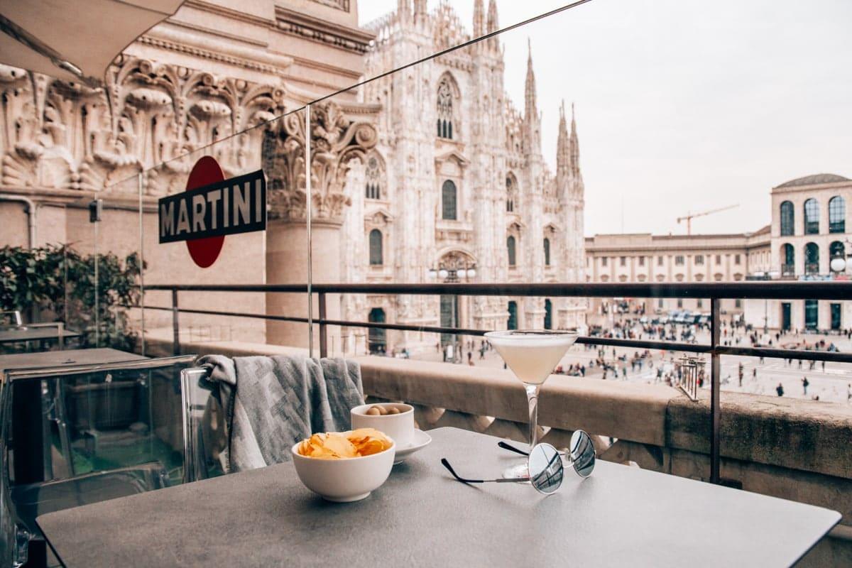 Mailand Food Guide - Restauranttipp Terrasse mit Blick auf den Mailänder Dom