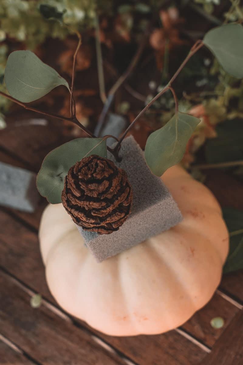 Kürbis Vase mit Trockenblumen DIY