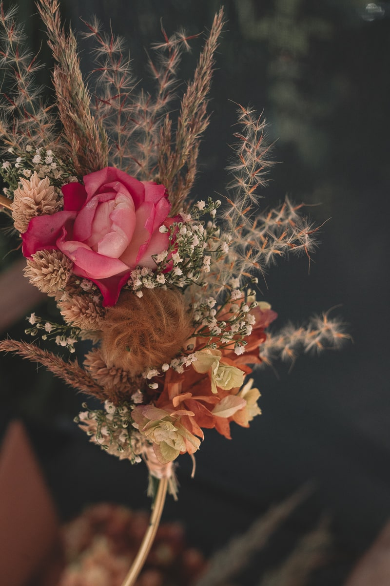 Boho Herbst Deko - Goldener Kranz mit Trockenblumen