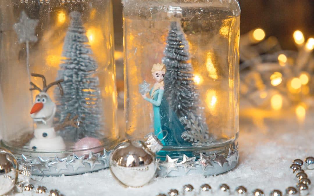DIY Weihnachtsgeschenk – Schneekugel aus alten Gläsern basteln